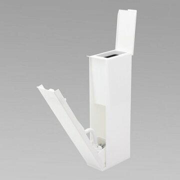 トイレステーショントイレブラシケース付きRSホワイト(白/スリム/隙間/おしゃれ/トレイポット/コーナーポット/便利/省スペース/一体型)