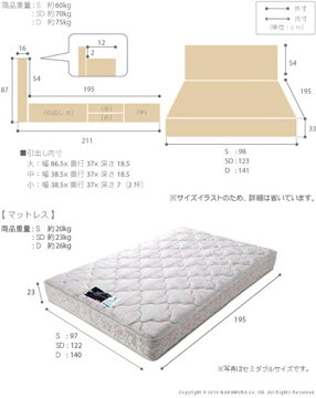 ライト・棚付きベッド〔グラディス〕深型引出し付きダブルデュラテクノスプリングマットレスセット