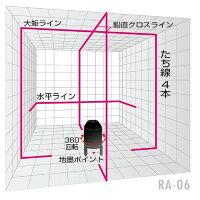山真製鋸レーザー墨出し器RA-06レッドエイリアン本体+アルミケース標準セットたち線・水平ライン・4方向大矩ライン・地墨ポイント
