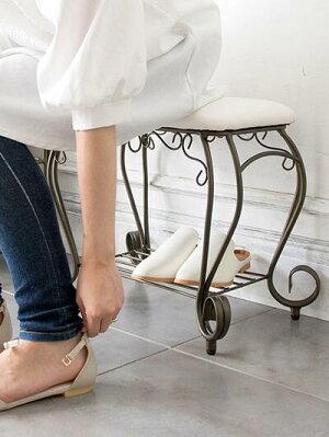 【送料無料】ミヤタケエントランスチェア玄関チェアBCW-5030玄関いす腰掛台姫姫系プリンセスアンティーク収納チェアスツールスチールアイアンおしゃれかわいいクラシカル姫系エレガント合成皮革PU