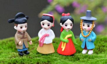 韓国服装チマチョゴリ恋人セット 1.7*4.1cm[人物/小さい/インテリアDIY/テラリウム/フィギュア/置物/小物/人形/おもちゃ〕