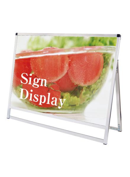スタンド看板 立て看板 店舗看板 A型看板 シルバー 屋外 片面 VASKAP-A0YLK【デザイン作製】:看板プロ