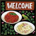 シール パスタ トマトソース クリームソース アイビー インコ welcome 装飾 デコレーションシール チョークアート 窓ガラス 黒板 看板 POP ステッカー 用