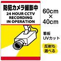 看板表示板「防犯カメラ撮影中」縦型中サイズ40cm×60cm監視カメライラスト