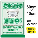 看板表示板「安全カメラ録画中」中サイズ40cm×60cmイラスト