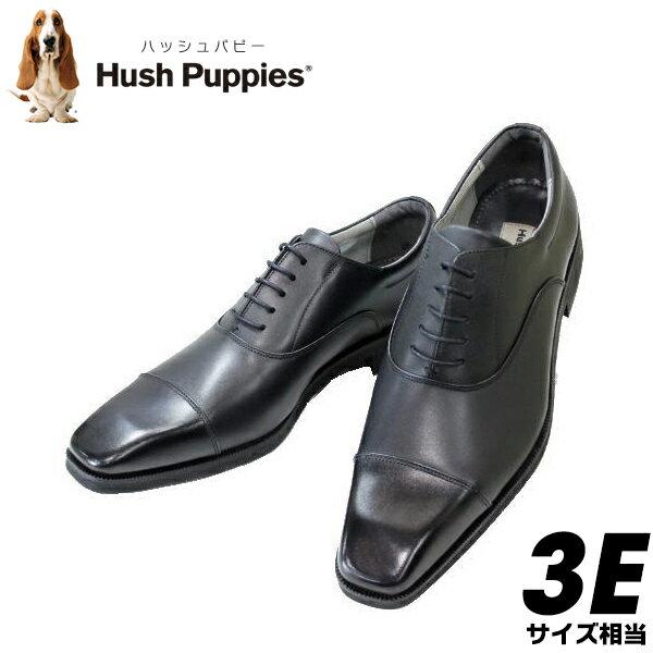 ハッシュパピーM307黒3E紳士靴【靴】本革ストレートチップ メンズビジネスシューズ