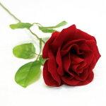 ベルベットローズ(バラ造花・アートフラワー)赤1輪
