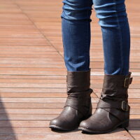 大きいサイズブーツゆったり幅広甲高ワイズ4e大きいサイズエンジニアブーツレディースくしゅくしゅショートブーツ黒かわいい大きいサイズ25.5cm26cm26.5cm大きい3L4L5Lフラットヒール靴ローヒール07411TW