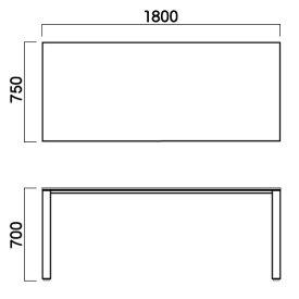 ミーティングテーブルシルバー脚【TAC】HTS-S1875-NAナチュラルW1800×D750×H700