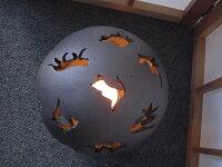 灯り瓦てまりネコ手彫り