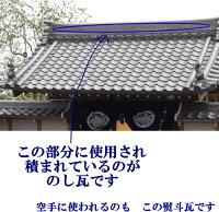 いぶし瓦屋根瓦8寸熨斗(のし)瓦場所