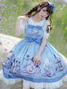 甘いロリータJSKドレスベイビーブルーノースリーブロリータジャンパースカート