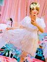 甘いロリータOPドレススタープリントピンクフリルロリータワンピースドレス