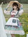 甘いロリータOPドレスポリエステル長袖フリル弓甘いロリータワンピースドレス