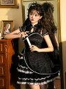 中国風ロリータオプトドレス黒半袖ジャカードパターンレースレースアップブラックロリータドレス