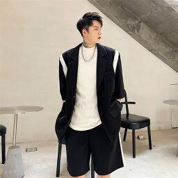 セットアップ メンズ テーラードジャケット ショートパンツ 2点セット半袖 ジャージ パンツ ゆったり大きいサイズファッションカジュアル上下セット