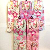 【メール便OK】【和柄ファッション】婦人用足袋ソックススニーカー丈(大花びら桜)