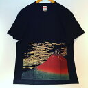【メール便送料無料】抜染 和 和柄 日本 お土産 Tシャツ 赤富士 葛飾 北斎 浮世絵 富士 富士山 外国人 人気 東京 浅草 スーベニア Souvenir Tshirts JAPAN TOKYO ブラック BLACK