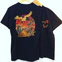 【メール便送料無料】抜染 和 和柄 日本 お土産 Tシャツ 浮世絵 鶴 亀 外国人 人気 東京 浅草 スーベニア Souvenir Tshirts JAPAN TOKYO ブラック BLACK
