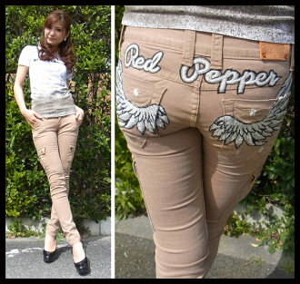 Red pepper ( RED PEPPER ) ladies REDPEPPER Chino pants スキニーカーゴ pants wing feather embroidery スキニーカーゴ denim jeans 5559-1!