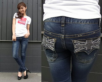 Staples ( HOTCHKISS ) Womens skinny denim jeans stretch with ユニオンジャックラインストーンビ for cute skinny pants 5671-6853!