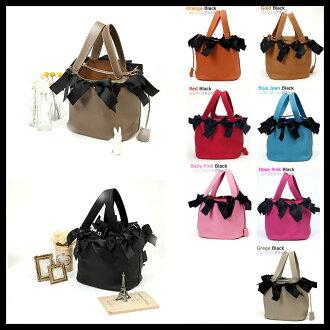 Ladies Leather black ribbon motif Tote cube Bag Handbag Reviews write! banks, Japan Post Bank at シルクスカーフプレゼント and ピコタン /PicotinBag like to bag cowhide leather トリヨンクレマンス brand new (unlocked) MM slope