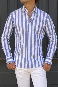 タケシクロサワ takeshy kurosawaメンズ ストライプ メンズ 長袖シャツ ブラウスシャツ メンズ シャツ メンズ プレゼント ギフト カジュアルシャツ トップス サマー 白82424【ホワイト×ブルー】新品 イタリア製 送料無料