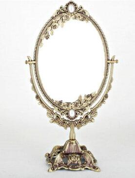 鏡 アンティーク、、 銅材質の金属の材質のンアン,,25x47 大きいサイズ、、両面卓上ミラー、rosestar,モチーフ、