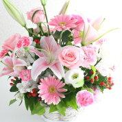 ピンク百合の華やかアレンジメント
