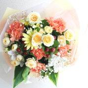 オレンジ色の暖かみのある花束/花ギフト/フラワーギフト/お祝い/結婚祝い/結婚記念日/誕生日/母の日/お見舞い/送別の花
