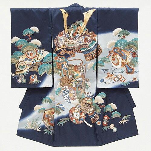 【レンタル】初着お宮参りレンタル「紺兜に龍(ドラゴン)」男の子 紺 兜 龍柄 貸衣装 往復送料無料