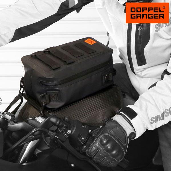 バイク タンクバッグ 防水 ツーリングバッグ doppelganger ドッペルギャンガー ターポリンタンクバッグ タクティクス dbt528-bk画像