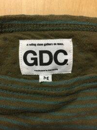 GDCジーディーシーボーダー切りっぱなし加工長袖カットソーMカーキ×ブルー/トップス【中古】[☆3]
