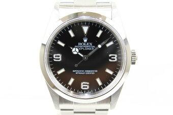 【OH済み】ROLEXロレックスエクスプローラーI14270A番SSステンレススチールブラックメンズ腕時計【中古】