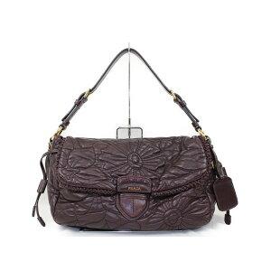 PRADA普拉达(prada)普拉达花式刺绣手提包BR4947紫金色金属配件手提包[二手]