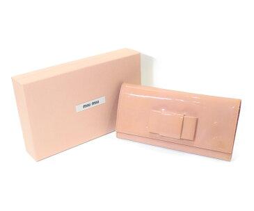 【箱あり】MIU MIU ミュウミュウ リボンエナメル長財布 ボタン ウォレット ファスナー 5M1109 ピンク レディース ウィメンズ ユニセックス ブランド かわいい【中古】