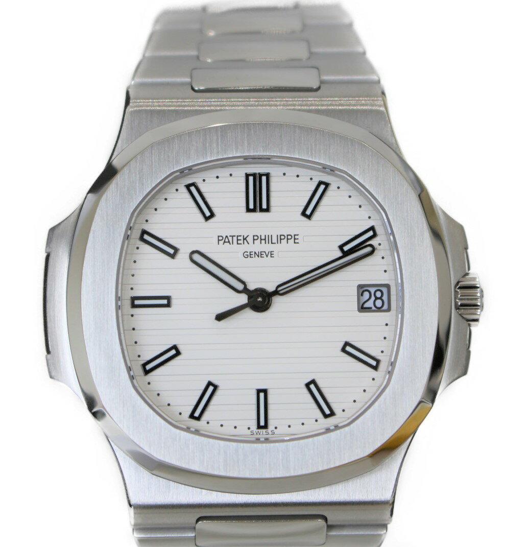【メーカー仕上げ済】PATEK PHILIPPE ノーチラス 5711/1A-011 ステンレススチール SS 自動巻き ホワイト デイト 三針 シースルーバック 裏スケ メンズ ウィメンズ 腕時計 【中古】
