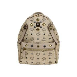 MCM Vices Bag Pack Beige Leder Damen Unisex Rucksack Bag Pack Korean Wave Present Verpackung [möglich] [Gebraucht]