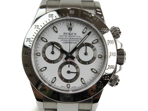 ギャラ有 ROLEXロレックスデイトナ116520自動巻きランダムクロノグラフSSホワイトメンズ腕時計 中古