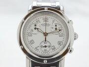 HERMESエルメスクリーパークロノSCL1.310レディース時計ホワイト/シルバークオーツ時計【中古】