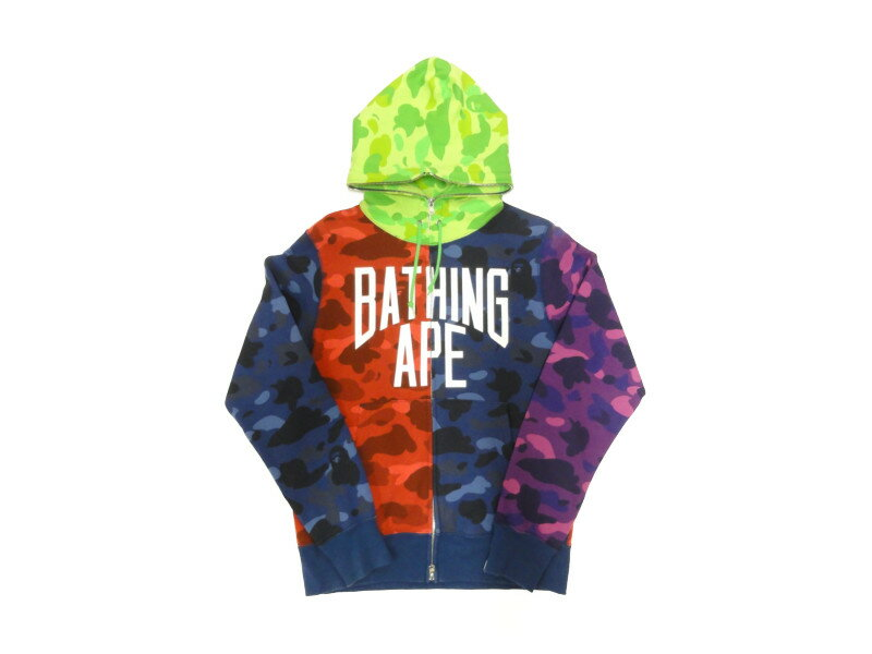 トップス, パーカー A BATHING APE 1B30115011 COLOR CAMO CRAZY FULL ZIP HOODIE M