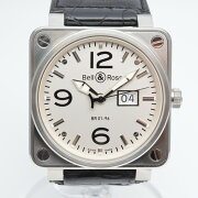 BELL&ROSSベル&ロスBR01-96Wメーターデイト自動巻きメンズ腕時計デイト表示白文字盤OH済