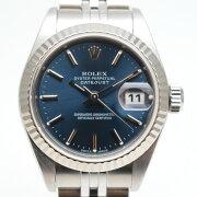 ROLEXロレックス79174デイトジャスト自動巻き時計ブルー文字盤2000年12月海外記載オーバーホール