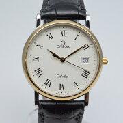 OMEGAオメガデビルデイトクオーツホワイト/ブラック社外ベルトメンズレディース腕時計【中古】