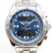 BREITLINGブライトリングA68362B-1デジタルアナログクォーツブルー/シルバーメンズ腕時計デ