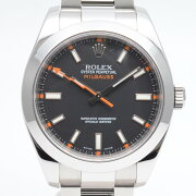 ROLEXロレックス116400ミルガウスV番(2010年12月海外記載)ブラック文字盤シルバーベルトメン