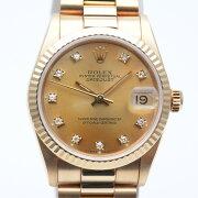 ROLEXロレックス68278Gデイトジャストボーイズ10PダイヤL番(1989年頃)金無垢重量約101