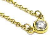 TIFFANY ティファニー バイザヤードネックレス ダイヤモンド 直径約3.4mm k18YG/イエローゴールド ペンダント【新品仕上げ済み、中古A】【中古】