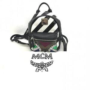 MCM MC मिनी बैग 5ARO06 स्टड चमड़े काले सफेद महिलाओं धारीदार गला भंडारण बैग प्रयुक्त प्रबंधन HS1945