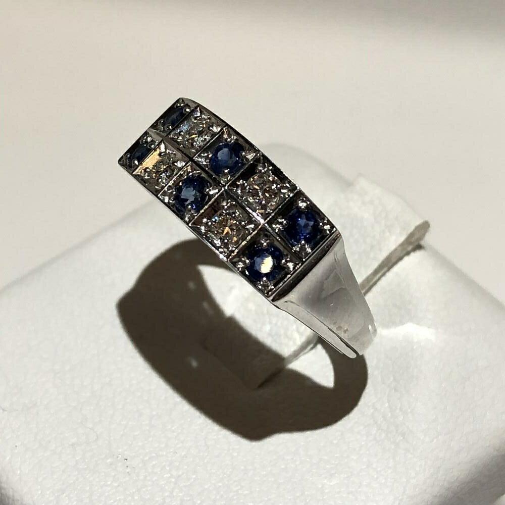 MIKIMOTO ミキモト ダイヤモンド D0.15ct サファイア 0.37 リング Pt900 プラチナ サイズ約12号 レディース 管理YH2535